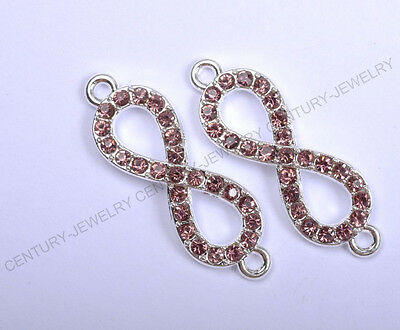 "2pcs purple ""8"" Crystal Rhinestone Charms Connectors Bracelet Finding Spacer"