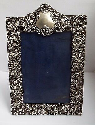 Beautiful Large English Antique Edwardian 1902 Solid Sterling Silver Photo Frame