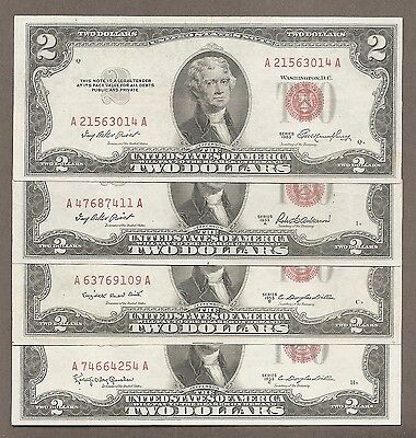 1953 Plain + A + B + C Full Set ( 4 ) $2 EF Red Seal Notes