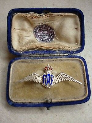 World War Two Royal Air Force Raf Wings Silver Enamel Sweetheart Brooch Boxed