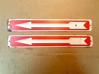 """2 Old Arrow Pointing Signs,Painted Heavy Steel 14"""" x 2'"""