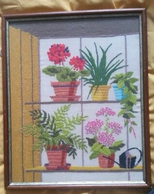 Beautiful hand-stitched framed embroidery picture