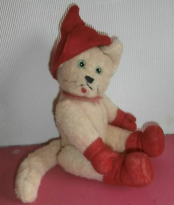 rare old   French FABULOUS  JOINTED  stuffed WOOLY white PUSS' N  BOOT CAT