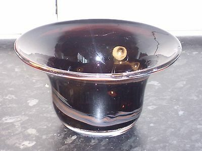 Vintage BROWN STREAKY ART GLASS BOWL - British 15.5cm DIA X 8cm TALL