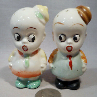 Vintage White Face Small Black Boys W/Hats S&P Shakers