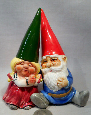 Vintage David The Gnome & His Granddaughter S&P Shakers