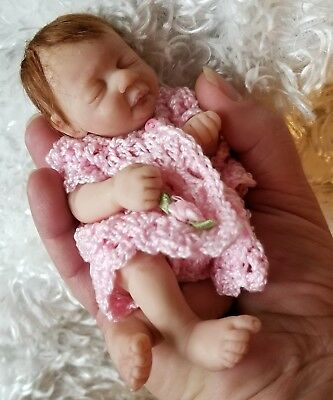 OOAK Original Art Doll Hand-sculpted Clay Mini Baby Girl by Artist Jamie Lynn