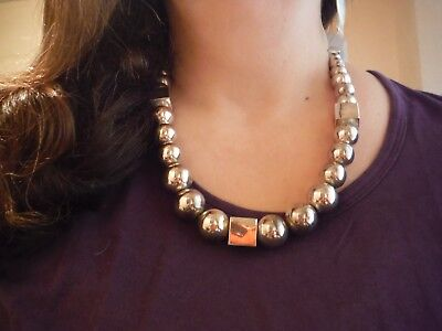Taxco Mexico Mexican Substantial Sterling Silver Ball And Cube Necklace--23 Ins.
