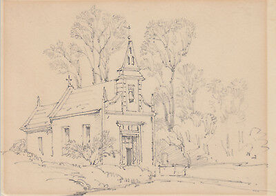 Antique pencil sketch of Little Gidding church