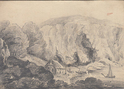 Antique small pencil sketch of Babicomb ( Babbacombe ) Bay & Lobster House Devon