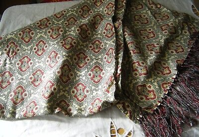 Vintage Tootal Scarf, Cream / Burgundy Paisley Pattern