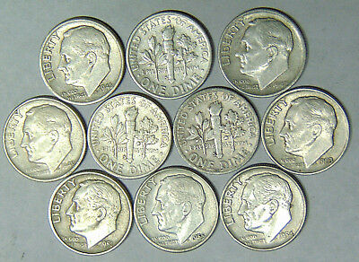 Set of 10 Roosevelt Silver Dimes 1946-S to 1955-S San Francisco Mint (101817)