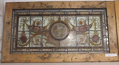 Reclaimed Large Victorian Stained Glass Panel In Pine Frame 3 | Warwick Rec