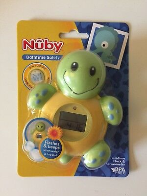 Nuby Turtle Bathtime Clock and Thermometer BAND NEW Turtle Bath Fun