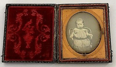 Cased Sixth Plate Daguerreotype of Petulant Pouting Young Girl Seated in Chair