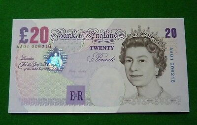 1999-2003 Merlyn Lowther Twenty Pound Note Aa01 006216 - Aunc