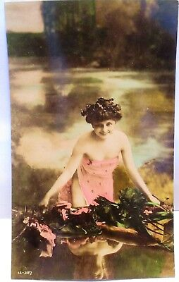 1910 Risque Real Photo Postcard Young Lady In Scanty High Cut Dress,hand Colored