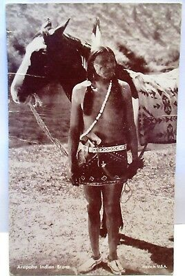 1930s ARCADE POSTCARD ARAPAHO INDIAN BRAVE, AND HORSE