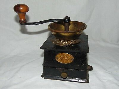 ANTIQUE VINTAGE VICTORIAN KENRICK BRASS & CAST IRON COFFEE MILL GRINDER No 2