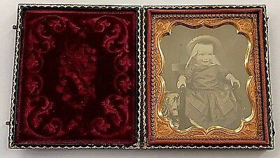 Cased Sixth Plate Daguerreotype of Giggling Baby in Dress & Straw Hat