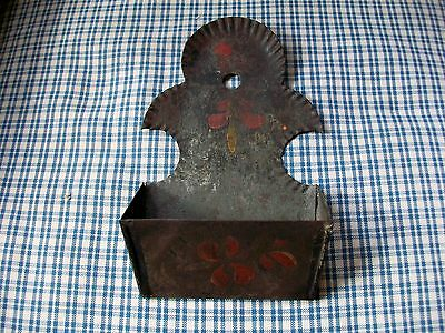 Antique Primitive Painted Tin Tole Toleware Hanging Match Holder