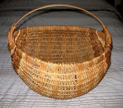 HUGE Hand Woven Ash Splint Melon Buttocks Basket Sea Shell Signed