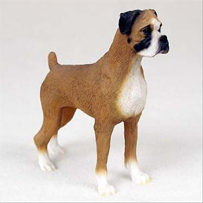 Boxer Uncropped Dog Hand Painted Collectable Figurine Statue
