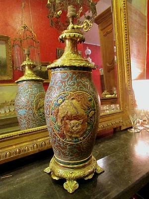 large vase japanese end 19th century assembled lamp bronze golden decoration