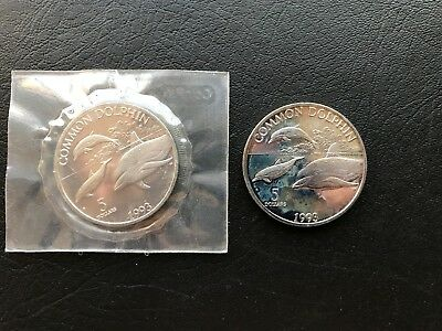 1993 $5 Republic of the Marshal Islands Common Dolphin Five Dollars BU - 2 Coins