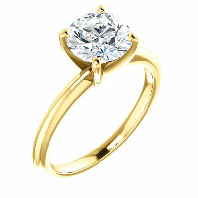 2 Ct Forever One GHI  Moissanite Round Solitaire Engagement  Ring 14k Yellow