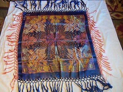Vintage Orinetal Art Deco Silk Table Cloth /Tapestry Tasselled Throw Bed Cover