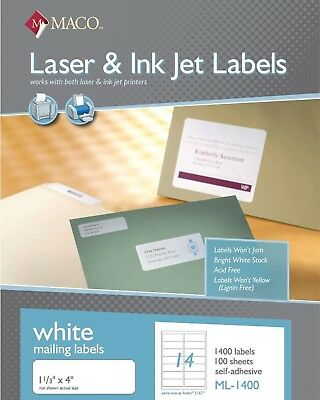 "Maco ML1400 Laser/Ink Jet Address Labels 1-1/3 x 4"" 14/Sheet 1,400/Box"