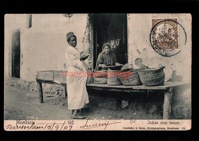 British East Africa MOMBASA INDIAN SHOP KEEPER Coutinho 1909 Daresalam DOA Cds04