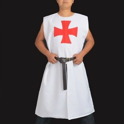 1pc Medieval Templar Knight Tunic Adult Men Gothic White LARP Cosplay Costume