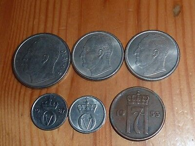 Norway - 1 Krone To 2 Ore Coins - 1953 To 1987 - 6 Great Coins