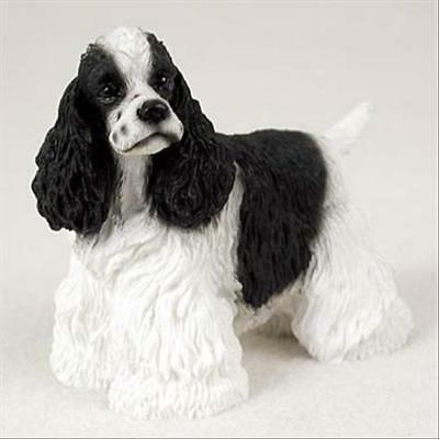 Cocker Spaniel Black White Dog Hand Painted Canine Collectable Figurine Statue