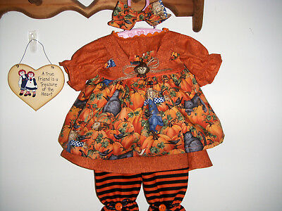 Fall Outfit, Scarecrows, Pumpkins, Black Cats For Raggedy Ann Doll Made By Eva