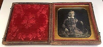 Cased Bright Hand Colored Sixth Plate Daguerreotype Handsome Young Boy In Dress