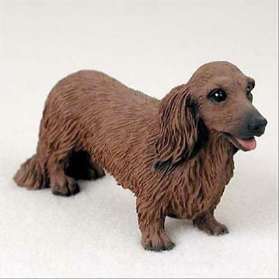 DACHSHUND Red Long Hair Dog Hand Painted Canine Collectable Figurine Statue