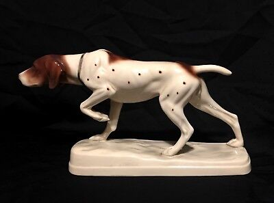 Vintage East Germany PORCELAIN POINTER DOG Hertwig & Co Katzhutte Figurine