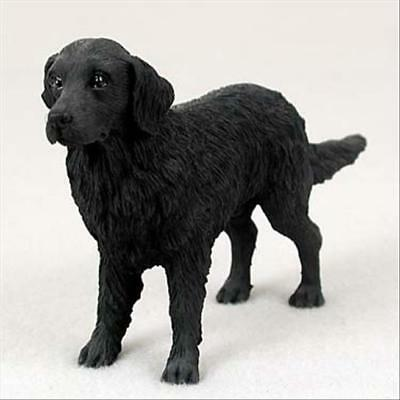 Flat Coated Retriever Dog Hand Painted Collectable Figurine Statue