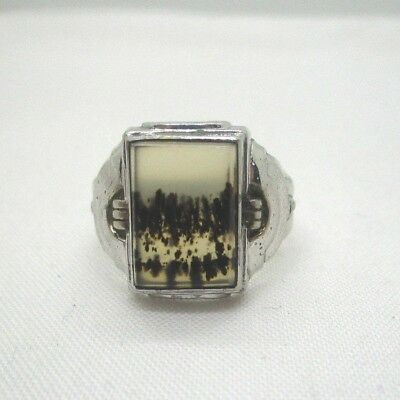 Sterling Silver Montana Agate Uncas Ring Size 11