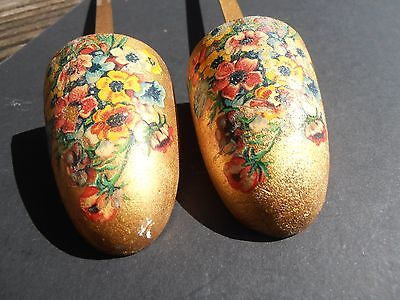 Vintage Pair  Of Painted Wood And Metal Shoe Stretchers Gold With Flowers