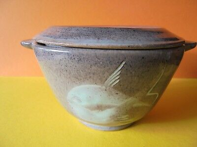 Fishley Holland Studio Pottery Small Covered Bowl - Fish Decoration - Vintage