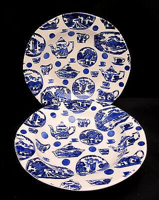 2 Rimmed Soup Bowls Burgess Leigh PICTORIAL BRITAIN Blue White CLEARANCE