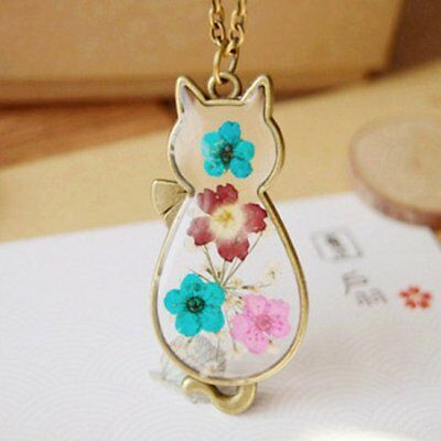 Fashion Natural Real Dried Flower Cat Shape Glass Pendant Necklace Jewelry Gift