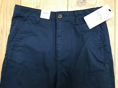 M&s Boys Trousers Age 11-12 Navy Blue Adjustable Waist Bnwt L@@k