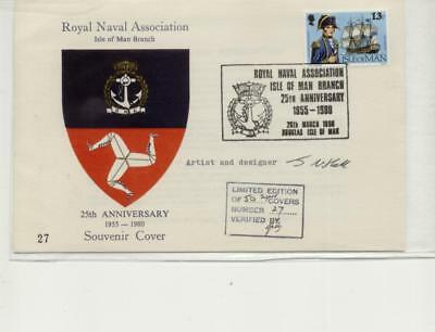 Isle of Man 1980 Royal Naval Association Cover, Signed by Artist & Designer