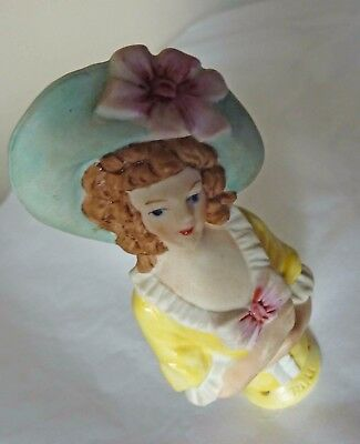 Vintage Half Doll, Lady in Green Bonnet with Pink Bow