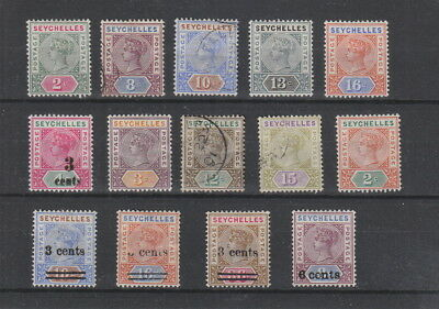 Seychelles Queen Victoria collection , 14 stamps.